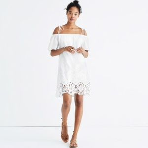 Madewell Eyelet Cold-Shoulder Dress White L NWT